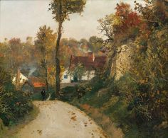 5547_57644.jpg (550×455)Thaulow, Frits (1847-1906)  Man on the highway   Oil on canvas, 38x46  Signed lower T.H. Frits Thaulow