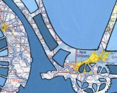 Bike New Orleans print -featuring Nola, Baton Rouge, Louisiana bicycle art print using vintage map