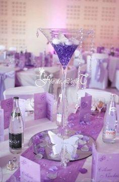 Vase Martini centre de table violet