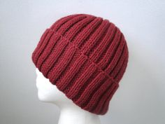 Cinnamon Red Hat for Men Hand Knit Wool Blend Beanie by Girlpower, $40.00