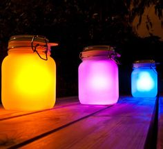 Put the Solar Mason Jar in direct sunlight, it charges during the day from the sun, and lights up at night... awesome!