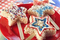 SPARKLIN' MARSHMALLOW RICE KRISPIES® TREATS™ Recipe - Kraft Recipes -  1/4 cup  (1/2 stick) butter or margarine 1 bag  (10-1/2 oz.) JET-PUFFED Miniature Marshmallows (6 cups) 6 cups  KELLOGG'S® RICE KRISPIES® cereal 24  wooden pop sticks 1 tube  (0.68 oz.) each: red, white and blue decorating gels 2 Tbsp.  each: red, white and blue sprinkles