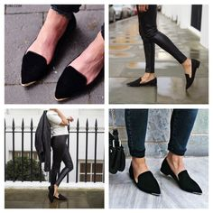 Zara black flats with metal toe Many bloggers favorite flats upper material 100% polyester. Size 6.5 Zara Shoes Flats & Loafers