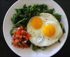 Garlicky Kale with Fried Eggs & Salsa
