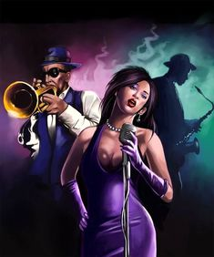 Sax in the back - Black Love Art, Black Girl Art, Art Girl, African American Art, African Art, Montreux Jazz, Jazz Poster, Jazz Art, Black Art Pictures