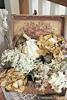 Silks & natural hydrangeas/wicker trunk-use the thrift store wine crate? Seasonal Decor, Fall Decor, Holiday Decor, Holiday Style, White Pumpkins, Fall Pumpkins, Autumn Garden, Autumn Home, Sweet September