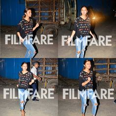 Goofing around in a casual avatar the perky Alia Bhatt was seen donning a loose fitted black sweatshirt with vibrant prints  and ripped ankle-length denims with flip-flops. She looked adorable sans make up and sported a ponytail. The actresss latest outing Kapoor & Sons has hit the bulls eye at the box-office and now shes busy shooting for Gauri Shindes next. by #Filmfare. Shared by #BollywoodScope