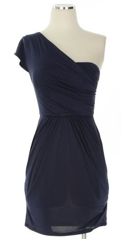 one-shouldered navy dress