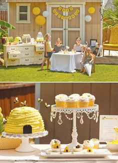 Bumble bee party!  Love how they used the vintage yellow dresser as a party buffet and opened the drawers to serve goodies out of!  Also love the honeycomb cereal idea for kid treat bags.  Safe treat for kids of all ages.