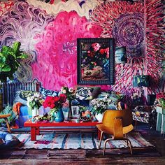 Fucking obsessed with @martyn_thompson s loft!!! Look at all that color... Its so fun and NOT pretentious. I dont like pretentious shit at all... This is inviting, decadent and dreamy and thats the shit I like.... @wendywurtzburger #ashleylongshore #popart #fuckyeah