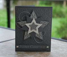 Bright and Beautiful Stamp Set, Stars framelits and silver ribbon to make a dashing card.