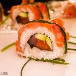Salmon tuna sushi roll up colse picture - amazing sushi roll