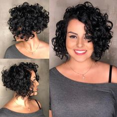 Black Inverted Bob for Curly Hair Messy Curly Hair, Short Wavy Hair, Curly Hair Cuts, Curly Hair Styles, Curly Inverted Bob, Inverted Bob Hairstyles, Wavy Hairstyles, Wedding Hairstyles, Men's Hairstyle