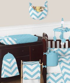 Modern Turquoise and White Chevron ZigZag Baby Bedding Crib Set by Sweet Jojo Designs. This Gender neutral 9 piece set includes: Crib Blanket, 2 Window Valances, Crib Skirt, Fitted crib sheet, Bumper, Diaper stacker, Toy bag and Decorative pillow all for only $189.99 #cribbedding #chevronbedding (http://www.babysownroom.com/turquoise-white-chevron-zigzag-baby-bedding-crib-nursery-jojo/)
