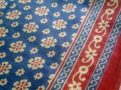 Block Print Fabric Indian Floral Cotton Navy Blue Red by RaajMa