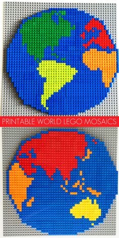 Printable World Lego Mosaic Patterns. Create your very own Lego world map with this printable mosaic pattern. Fun as a geography or Earth Day project.