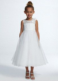 Your flower girl will look and feel like a princess in this adorable ball gown!  Spaghetti strap bodice features illusion lace neckline with 3D floral detail.  Full tea length organza skirt isfun for twirling.  Fully lined. Back zip. Imported polyester. Dry clean only.