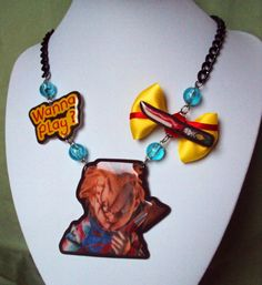 de424079d Chucky Necklace Child's Play horror jewelry by MirroredOpposites Chucky,  Blue Beads, Horror Movies,