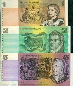 AUSTRALIA 3 PAPERMONEY DECIMAL NOTES $1 $2 $5 UNC FRESH