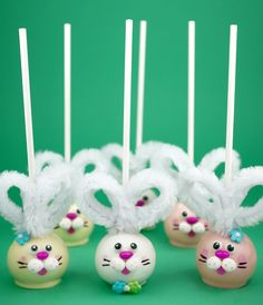 Easter Bunny Pops: Bakerella's Easter bunny pops use pipe cleaners to create fluffy ears. We love the three-dimensional detail on the sweet face!  Source: Bakerella