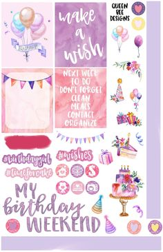 This is a mini kit that I made to celebrate my birthday week! Available in vertical or horizontal sizes. Perfect to decorate your planner, calendar or scrapbook. All are perfectly sized to work with any planner including the Erin Condren Life Planners, Happy Planners, Sew Much Crafting inserts, and many other agendas. These stickers are printed on high quality, matte paper that will work with any pen! if you would like to upgrade to premium matte or glossy paper, check the listings for the…