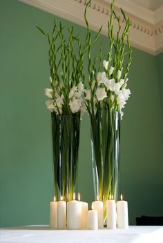 Gladioli arrangement. Floral decor. candles. #flowers