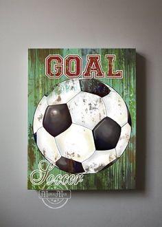Soccer art sports room decor canvas art soccer by muralmax Vintage Sports Decor, Sports Room Decor, Sports Wall, Boys Room Decor, Kids Room, Nursery Decor, Nursery Ideas, Bedroom Decor, Art Football