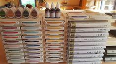für 20 Stampin Up Stempelkissen/Stempelhüllen/Stanzen Regal mit Reling in Möbel…