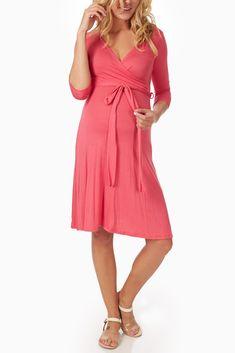 Coral-Sash-Tie-Maternity/Nursing-Dress #maternity #fashion