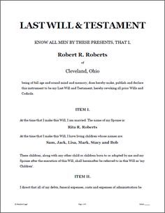 Printable sample last will and testament template form for Template for wills