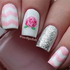 #nail #unhas #unha #nails #unhasdecoradas #nailart #gorgeous #fashion #stylish #lindo #cool #cute #fofo #chevron #floral #flores #flowers #lovely Instagram photo by swiftpolish