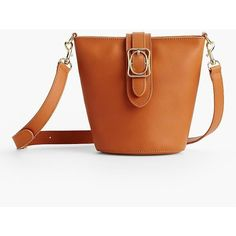 Talbots Women's Square  Oval Bucket Bag : Vachetta Leather ($139) ❤ liked on Polyvore featuring bags, handbags, shoulder bags, spring sienna, bucket bag, talbots handbags, square purse, talbots and pebbled-leather handbags