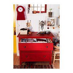 "HEMNES 3 drawer chest, red - 42 1/2x37 3/8 "" - IKEA"