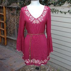 Double zero dress tunic Cranberry dress tunic with brown suede waist belt DOUBLE ZERO Tops Tunics