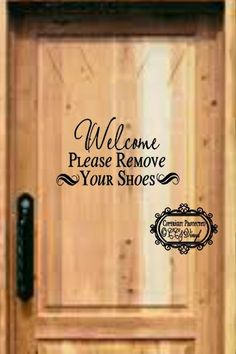 Items Similar To Please Remove Your Shoes WOOD SIGN On Etsy - Custom vinyl decals for wood   removal options