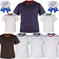 Stripe Baseball Jersey T-Shirt Dry Fit Short Sleeves Round Neck Tee Team Sports
