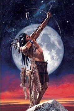 Native American Man with bow & arrow & Moon in background art Native American Warrior, Native American Wisdom, Native American Beauty, American Indian Art, Native American History, American Indians, American Pride, Native American Paintings, Native American Pictures