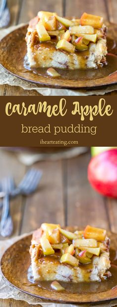 Caramel Apple Bread Pudding is cinnamon sugar bread pudding topped with a buttery, brown sugar caramel apple sauce. Such a yummy fall dessert recipe!