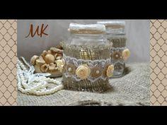 Подсвечник в стиле шебби-шик / Из стеклянной банки, бечёвки, мешковины и атласных лент - YouTube