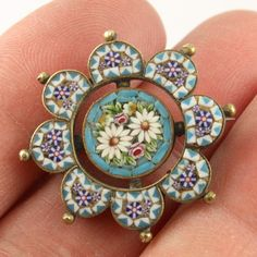 Antique Victorian c 1890 Italian pietra dura micro mosaic brooch pin
