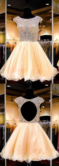 Brightly Shining A-line Backless Beaded Bodice Tulle Homecoming Dresses,Hot 87