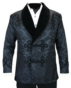 Vintage Smoking Jacket - Black Brocade