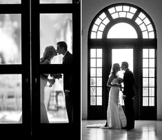 Sweet black and white photos of the bride and groom kissing.