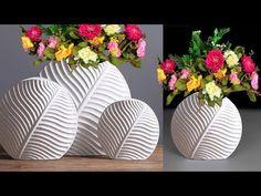Cement Flower Vase || Leaf Flower Vase || Decorative Showpiece For Home Decor - YouTube