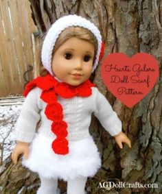 Free Crochet Pattern for a Valentine's Day Hearts Galore Scarf for 18 inch dolls