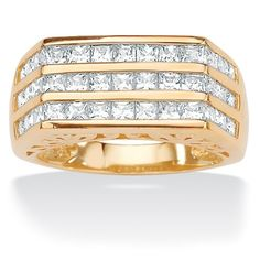 Men's 1.56 TCW Square Cubic Zirconia 18k Yellow Gold Over Sterling Silver Triple-Row Ring Palm Beach Jewelry. $89.99
