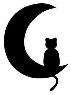 Katze im Mond - Silhouette Chat, Chat Halloween, Wood Burning Patterns, Cat Quilt, Scroll Saw Patterns, Cat Tattoo, Tattoo Moon, Applique Patterns, Cat Drawing