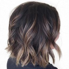 Balayage Ombre on Dark Hair This beautiful style is just the right mix of subtle and stand-out. Dark brown hair looks best with ashy blonde balayage highlights. To keep the contrast between the…More Brown Balayage Bob, Short Balayage, Blonde Balayage Highlights, Balayage Bob Brunette, Ashy Blonde, Blonde Highlights On Dark Hair Short, Balayage Ombre, Bayalage Bob, Caramel Balayage Bob