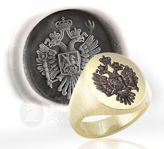Russian Imperial Eagle Signet Ring and Wax Seal