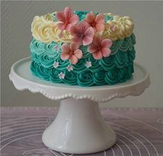 Dainty Turquoise Roses Swirl Cake  ~ all edible ~ sugar paste flowers